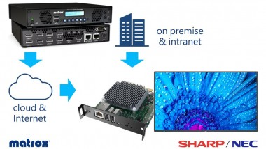 Sharp/NEC´s modular SoC MediaPlayer offers full end-to-end streaming solution powered by Matrox Maevex multi-channel encoders to deliver exceptional-quality digital signage over IP