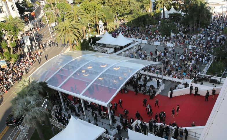 Aerial view of red carpet and entrance at Cannes
